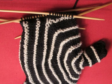 Aina fingerless knitted mittens, by Lisa Risager, Artemis Adornments